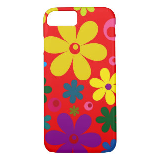 FLOWER POWER (a retro colorful floral design) ~~ iPhone 7 Case