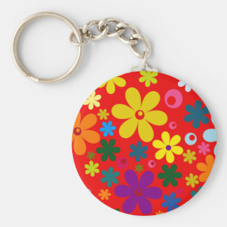 FLOWER POWER (a retro colorful floral design) ~~ Key Ring