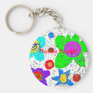 Flower Power! Basic Round Button Key Ring