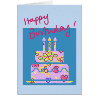 Flower power birthday cake birthday card
