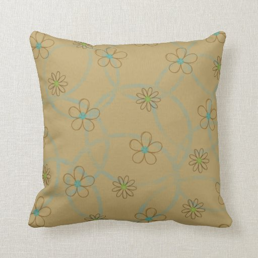 Flower Power Blue and Green American MoJo Pillow