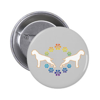 Flower power boxer 6 cm round badge
