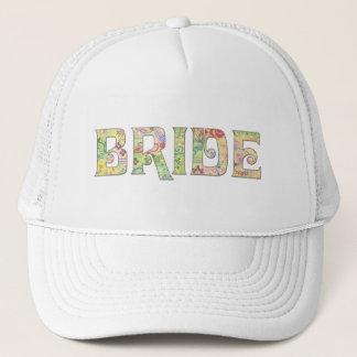 Flower power bride trucker hat