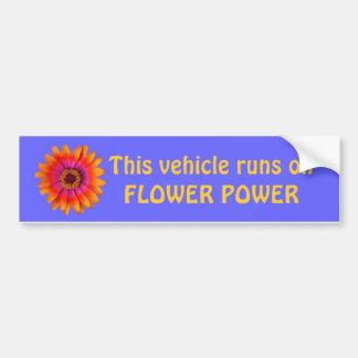 flower power bumper sticker blue, This vehicle ...