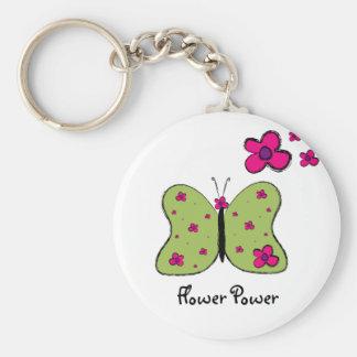 Flower Power Butterfly key chain