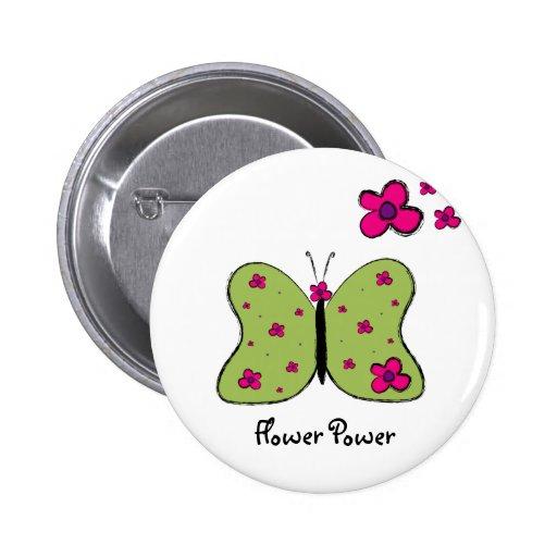Flower Power Butterfly T-shirt Pin