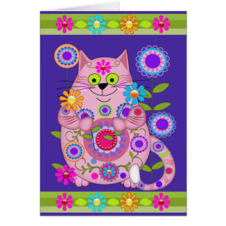Flower Power Cat birthday card
