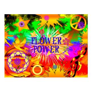 Flower Power - Colorful 1960s Motif Postcard