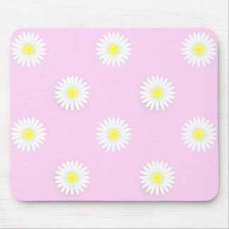 """""""Flower Power""""  Daisies: Pink-Yel-White Mouse Pad"""