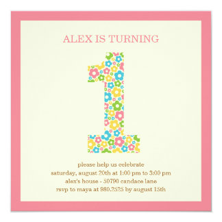 Flower Power First Birthday Invitation - Pink