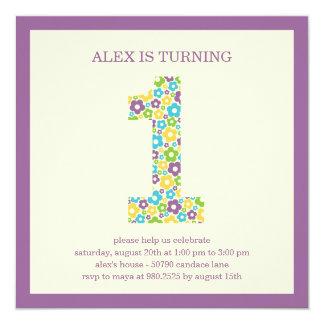 Flower Power First Birthday Invitation - Purple