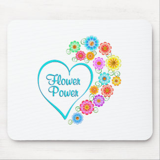 Flower Power Heart Mouse Pad