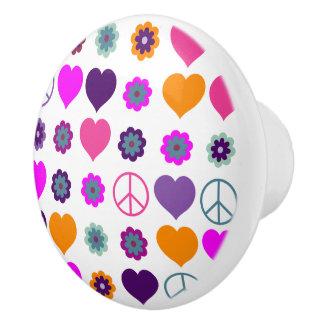 Flower Power Heart Peace Pattern + your backgr. Ceramic Knob
