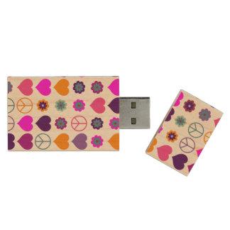 Flower Power Heart Peace Pattern + your backgr. Wood USB Flash Drive
