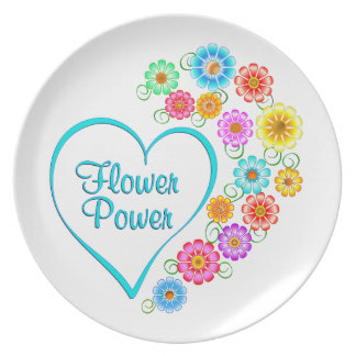 Flower Power Heart Plate