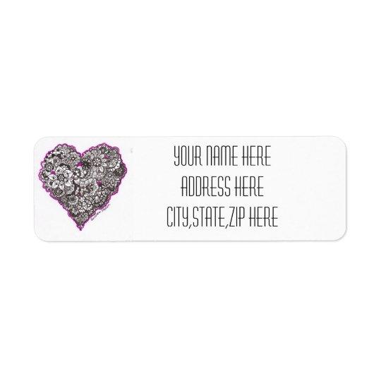 Flower Power Hearts Address Labels
