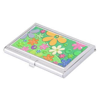 Flower Power in Green Business Card Holder