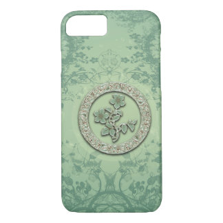 Flower power in soft green colors iPhone 7 case