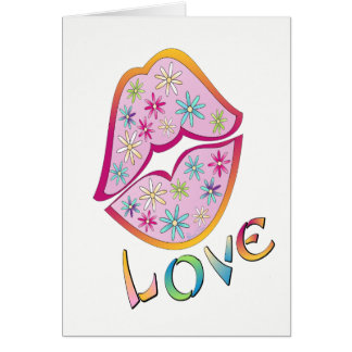 Flower Power Kiss Greeting Card