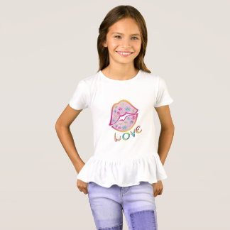 Flower Power Love Girls' Ruffle T-Shirt