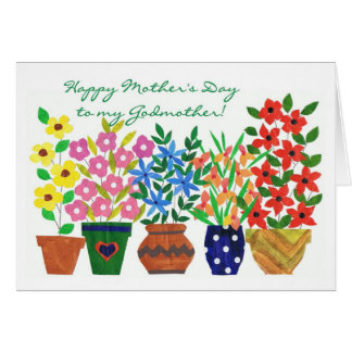 Flower Power Mother's Day Card for a Godmother