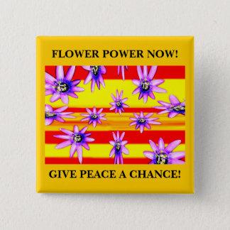 FLOWER POWER NOW! 15 CM SQUARE BADGE