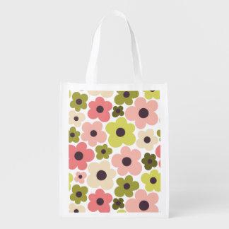 Flower Power Pattern Reusable Grocery Bag