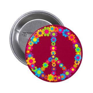 Flower Power Peace 6 Cm Round Badge
