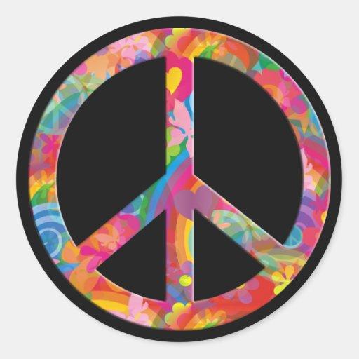 Flower Power Peace | black Round Sticker
