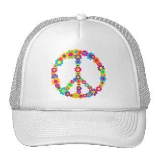 Flower Power Peace Mesh Hats