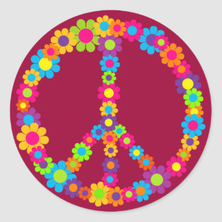 Flower Power Peace Round Sticker
