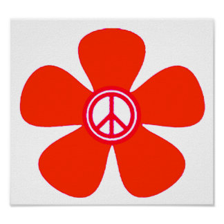 Flower Power Peace Sign Poster