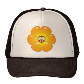 Flower Power Peace Sign Trucker Hats
