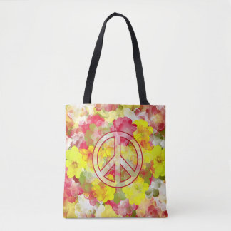 Flower Power Peace Tote Bag