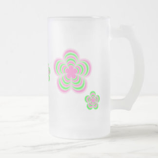 Flower Power Pink & Green Frosted Glass Frosted Glass Mug