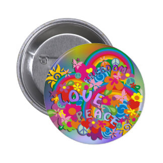 Flower Power Rainbow 6 Cm Round Badge