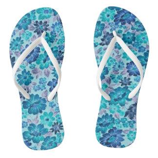 Flower Power Retro Flip Flops Aqua Blue