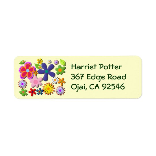 Flower Power Retro Floral Vector Return Address Label