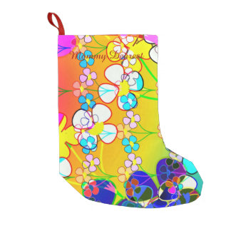 Flower Power Retro Pansies Small Christmas Stocking