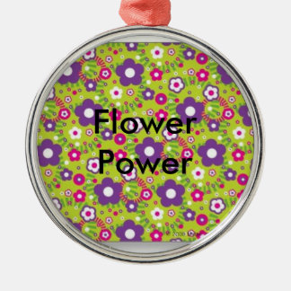 Flower Power Silver-Colored Round Decoration