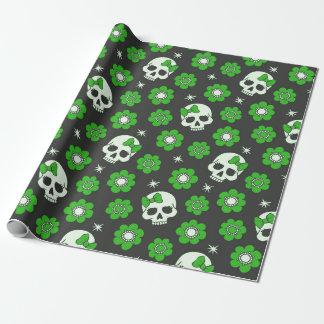 Flower Power Skulls in Festive Green