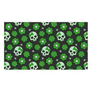 Flower Power Skulls in Festive Green Pack Of Standard Business Cards