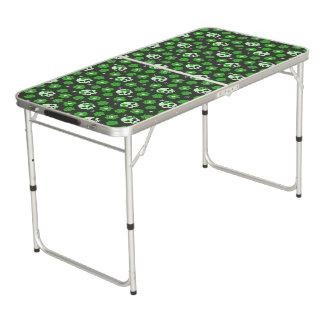 Flower Power Skulls in Festive Green Pong Table