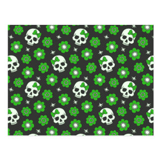 Flower Power Skulls in Festive Green Postcard