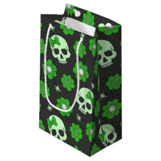 Flower Power Skulls in Festive Green Small Gift Bag