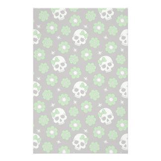 Flower Power Skulls in Festive Green Stationery