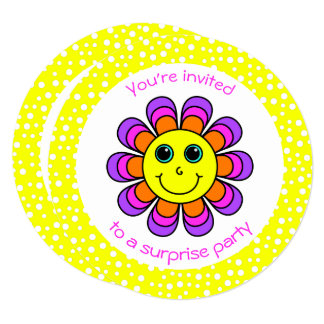 Flower Power Smiley Birthday Party Card