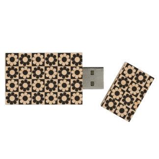 Flower Power Squares Wood USB 3.0 Flash Drive