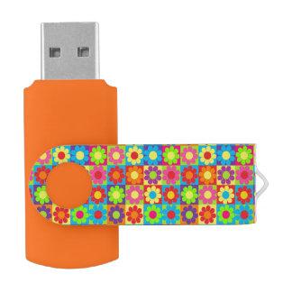 Flower Power Squares Swivel USB 2.0 Flash Drive