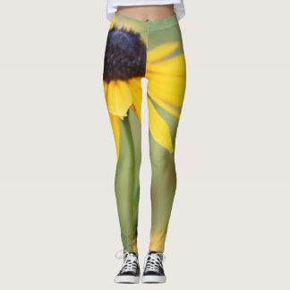 Flower Power! Vivid Yellow Daisy on Green Leggings
